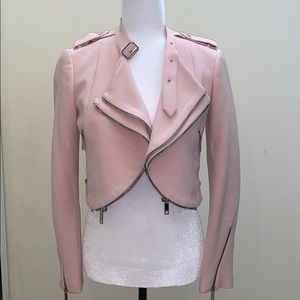 Zara women rose pink zipper accent blazer jacket